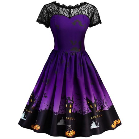 JustVH Women's Vintage 1950s Lace Patchwork Rockabilly Midi Swing Cocktail Halloween Dress - Halloween Cocktail Menu
