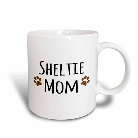 3dRose Sheltie Dog Mom - Shetland Sheepdog - Doggie by breed - brown paw prints - doggy lover pet owner, Ceramic Mug, 15-ounce