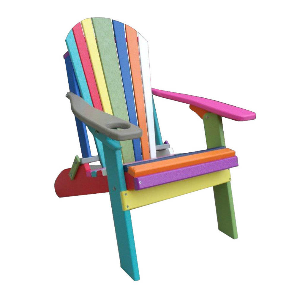 Furniture Barn USA™ CONFETTI Poly Recycled Plastic Adirondack Chair With  Cup Holder