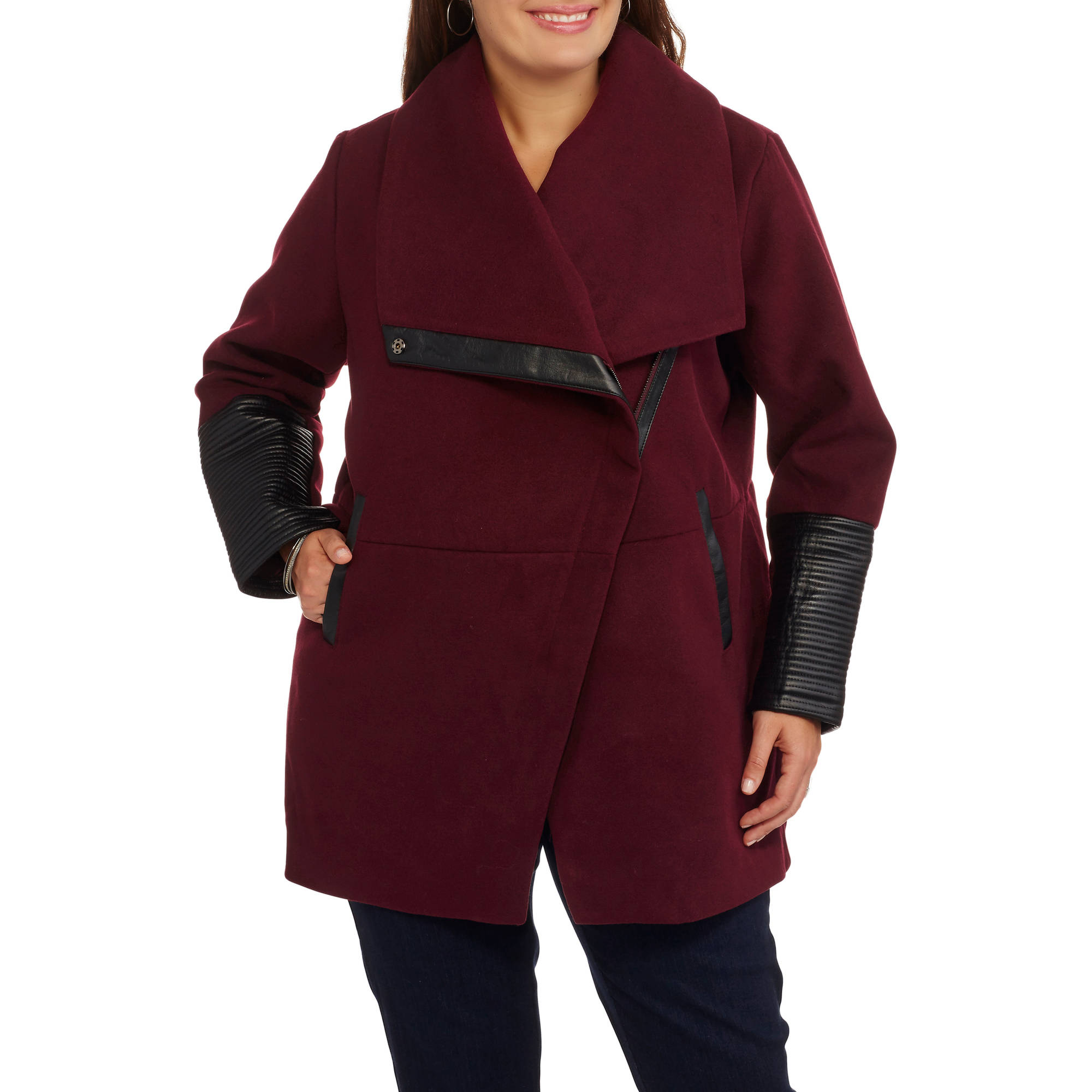 Maxwell Studio Women's Plus-Size Faux Wool Moto Coat With Faux Leather Details
