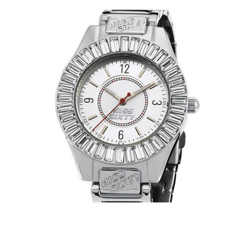 Miss Sixty Ladies Watch Analogue Quartz, In Collection Bling, 3 H and S, Silver Pvd and Silver Dial