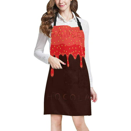 ASHLEIGH Funny Red Berry Strawberry Dripping On Brown Chocolate Home Kitchen Apron for Women Men with Pockets, Unisex Adjustable Bib Apron for Cooking Baking Gardening