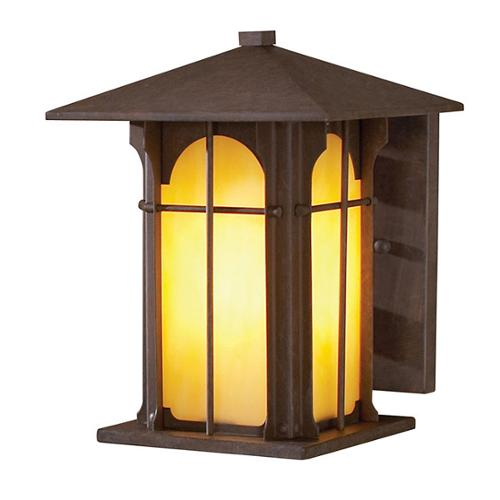 Aztec 1-light 9-inch Olde Brick Honey Opal Glass Outdoor Wall Light