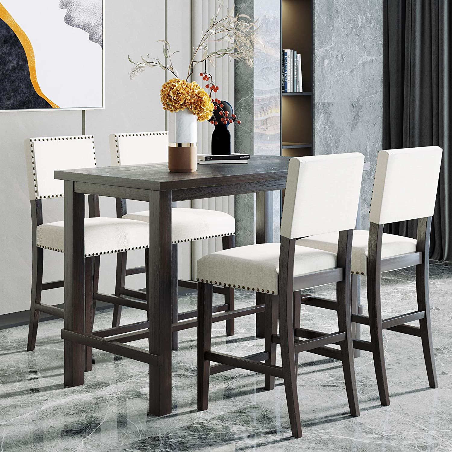 9 Piece Dining Table Set Counter Height Dining Set with Classic Elegant  Rectangel Table and 9 Padded Chairs for Kitchen Dining Room,Black and Beige    ...