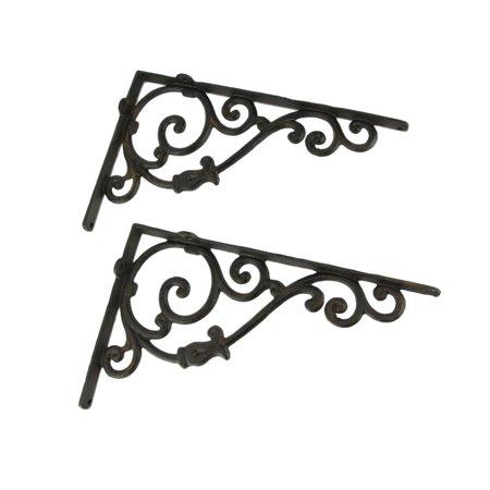Rustic Brown Cast Iron Scroll Wall Shelf Bracket Set of 2 Rustic Wall Bracket