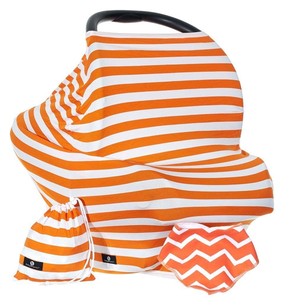 Baby Benjamin Convertible Nursing Cover Up for Breastfeeding – Baby Gift Bundle with Bib + Bag - Orange
