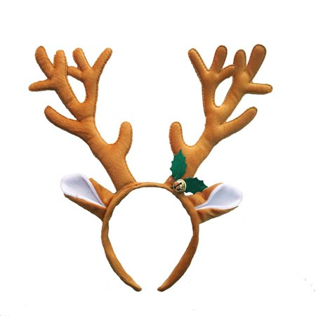 Kids Ladies Funny Reindeer Antler Headband with Bell Funny Party Hair Band Head Band Christmas Fancy Dress Costumes Accessory (Coffee) - Reindeer Antler Headband