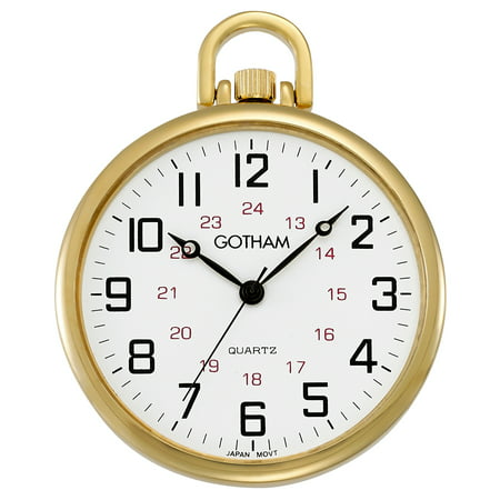Men's Railroad Open Face Gold-Tone Analog Quartz Pocket Watch with Chain # - Fake Pocket Watch