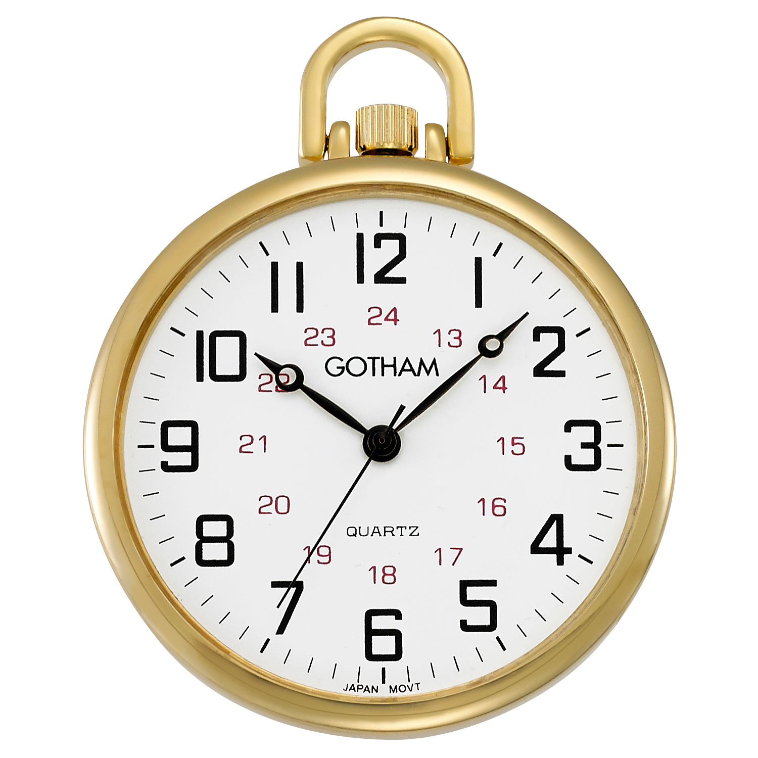 Gotham Men's Railroad Open Face Gold-Tone Analog Quartz Pocket Watch with Chain # GWC15026G