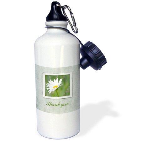 3dRose Ox Eye Flower in Flooding White Frame on Green, Thank you, Sports Water Bottle, 21oz