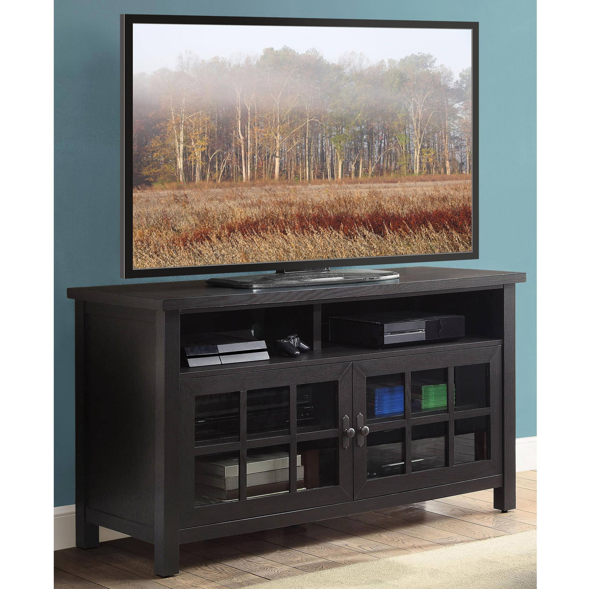 Whalen Espresso 54 Table Top Tv Console For Tvs Up To 60 Walmart Com