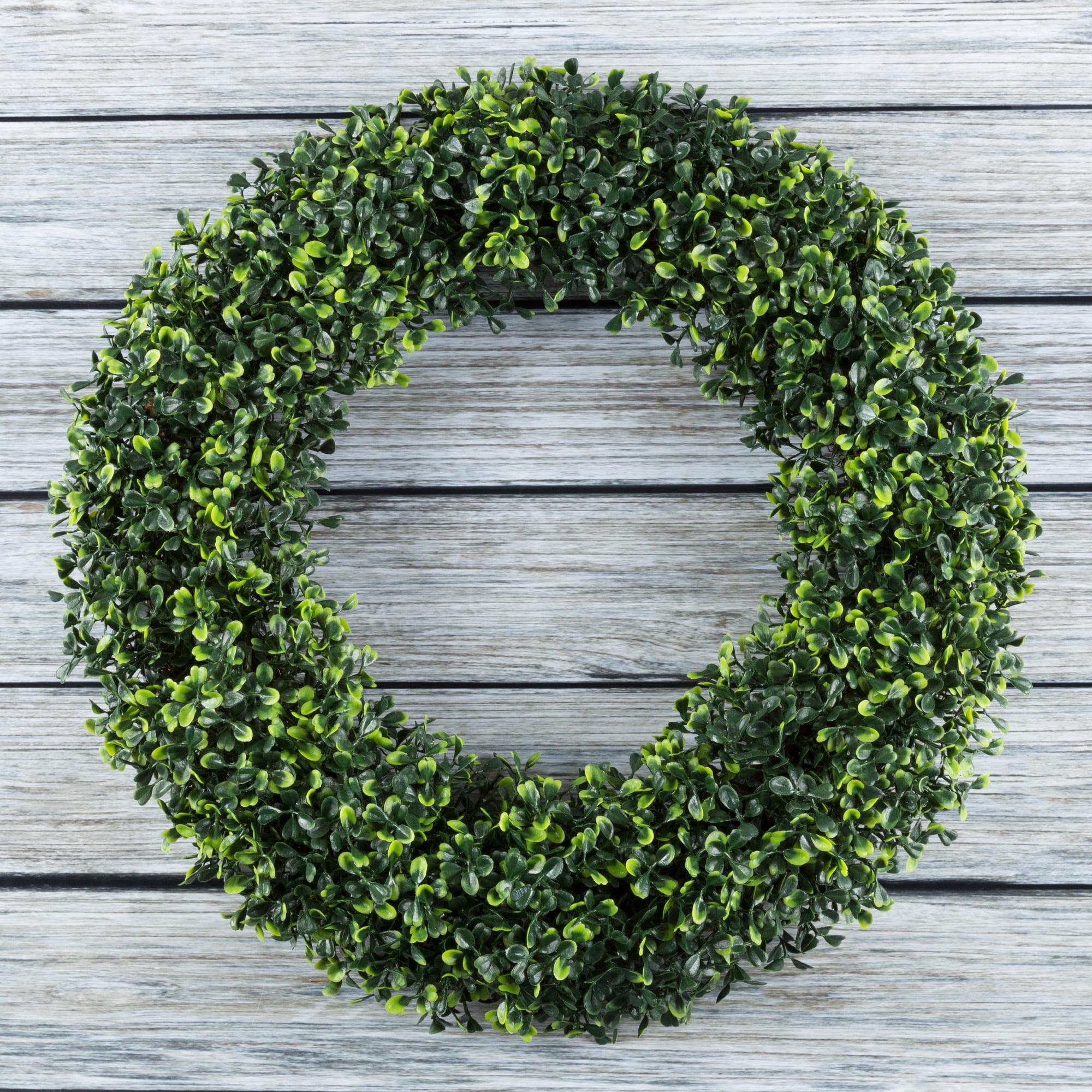 """Pure Garden 19.5"""" UV Resistant Artificial Wreath for the Front Door, Green"""