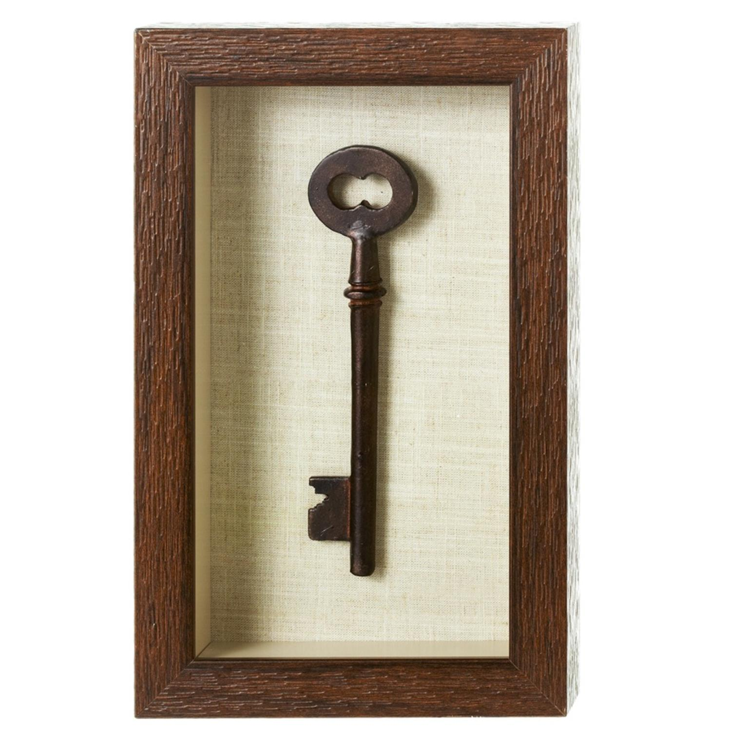 "12"" x 7"" Chocolate Brown Antique Skeleton Key Shadow Box Wall Decor"