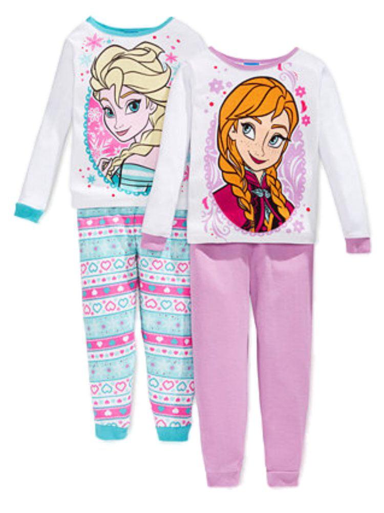Disney Frozen Elsa Anna 4 PC Long Sleeve Tight Fit Cotton Pajama Set Girl Size
