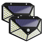 Solar Lights Outdoor,[2 Pack] iClover Solar Powered Motion Sensor Lights 100 LEDs Outdoor Waterproof Wall Light Night Light with 3 Modes with 270° Wide Angle for Garden, Patio Yard, Deck Garage