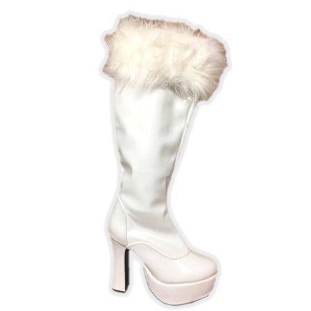 Women's Shiny White Costume Boot with Faux Fur Mrs. Claus Gogo Dancer Disco - image 1 de 1