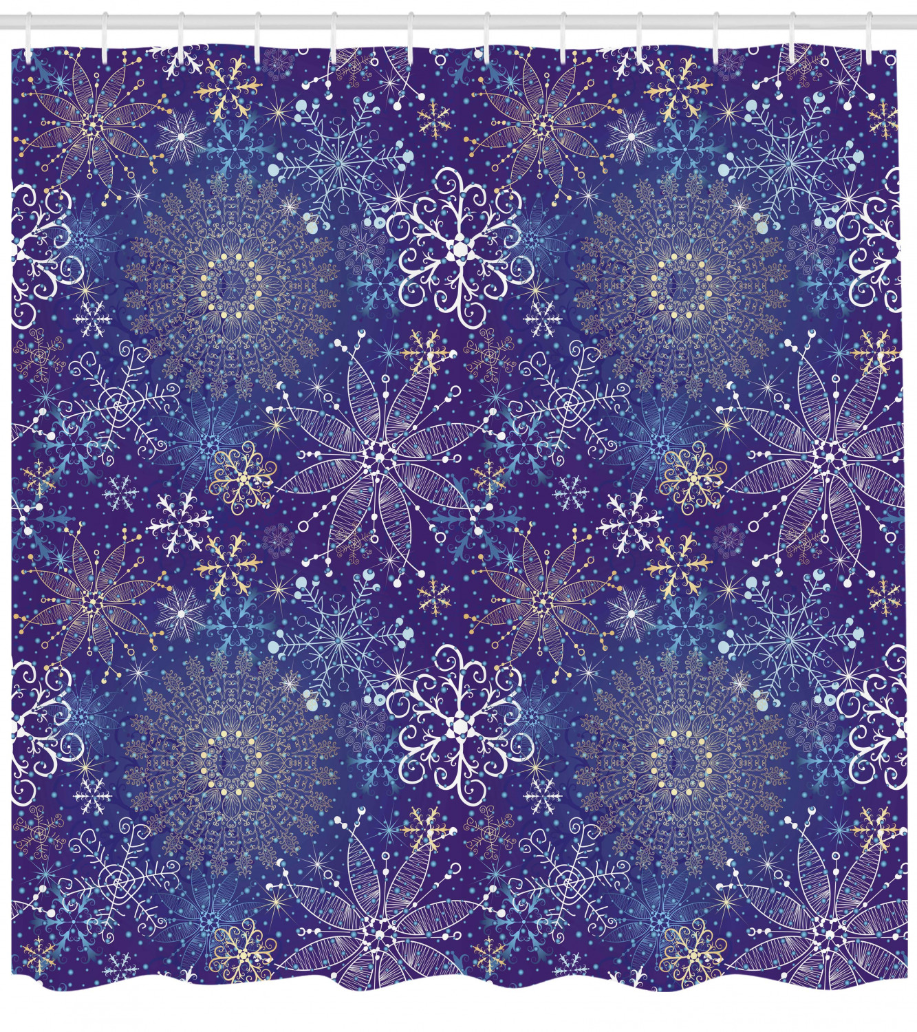 Dark Blue Shower Curtain Christmas Inspired Pattern With Artistic Ornate Curly Snowflakes Mandala Style Fabric Bathroom Set With Hooks 69w X 84l