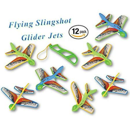 Play Kreative Kids Flying Jet Plane - 12 Pack Glider Plane- Children Slingshot Jet Airplane Outdoor Party Favors - Flying Gliders