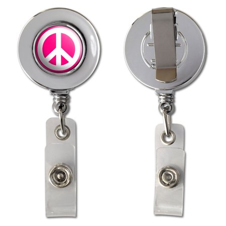 Peace Sign White On Pink Retractable Reel Chrome Badge ID Card Holder (Vital Signs Badge Cards)