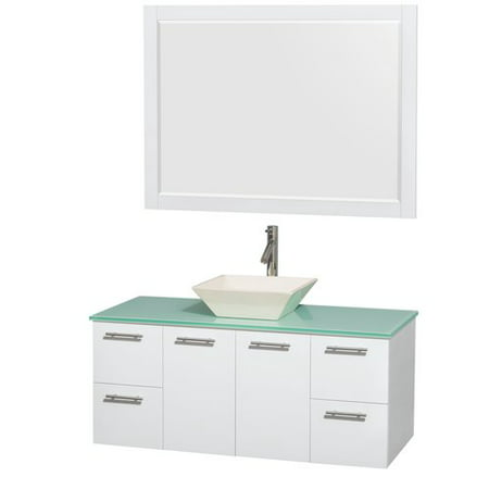 Glass Vanity Countertop (Wyndham Collection Amare 48 inch Single Bathroom Vanity in Glossy White, Green Glass Countertop, Pyra Bone Porcelain Sink, and 46 inch Mirror )