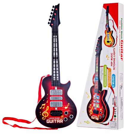 Guitar Connection Musical Instruments - 4 Strings Electric Guitar Toy Kid's Musical Instruments Educational Toy - Red
