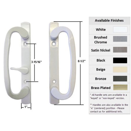 Sliding Glass Patio Door Handle Set, Mortise Type, B-Position, Latch Lever is Off-Centered, Non-Keyed, White, 3-15/16
