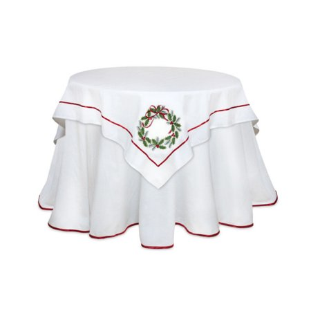pack of 2 red and green holly wreath square christmas holiday tablecloth table toppers 54 - Square Christmas Tablecloth
