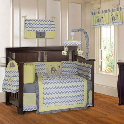 Harriet Bee Slavens Elephant ZigZag 10 Piece Crib Bedding Set