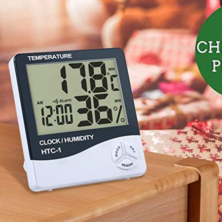 HTC-1 large screen home indoor electronic thermometer hygrometer alarm clock - image 2 de 9