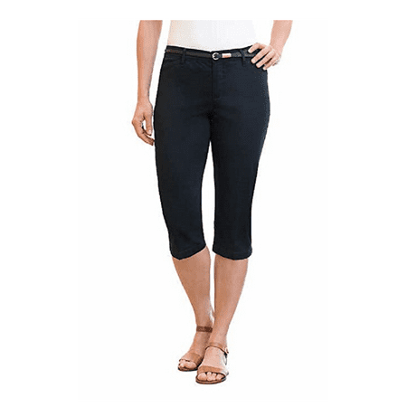 Hardshell Pants - Gloria Vanderbilt Ladies' Anita Belted Capri - Casual Summer Pants