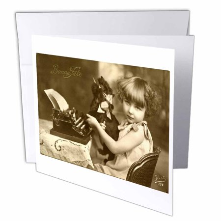 3dRose Print of photo Of Girl On Old Typewriter With Pet, Greeting Cards, 6 x 6 inches, set of 6