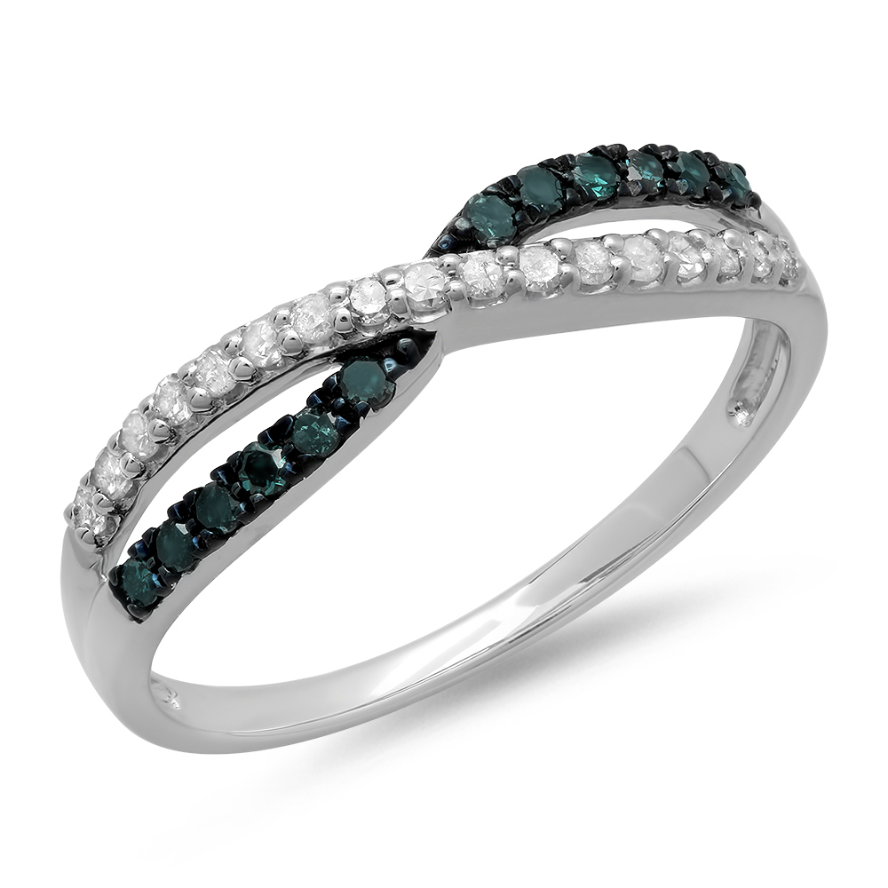0.25 Carat (ctw) 10K Gold Round Blue & White Diamond Anniversary Wedding Band Swirl Ring 1/4 CT