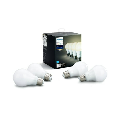 - Philips Hue White A19 Smart Light Bulb, 60W LED, 4-Pack
