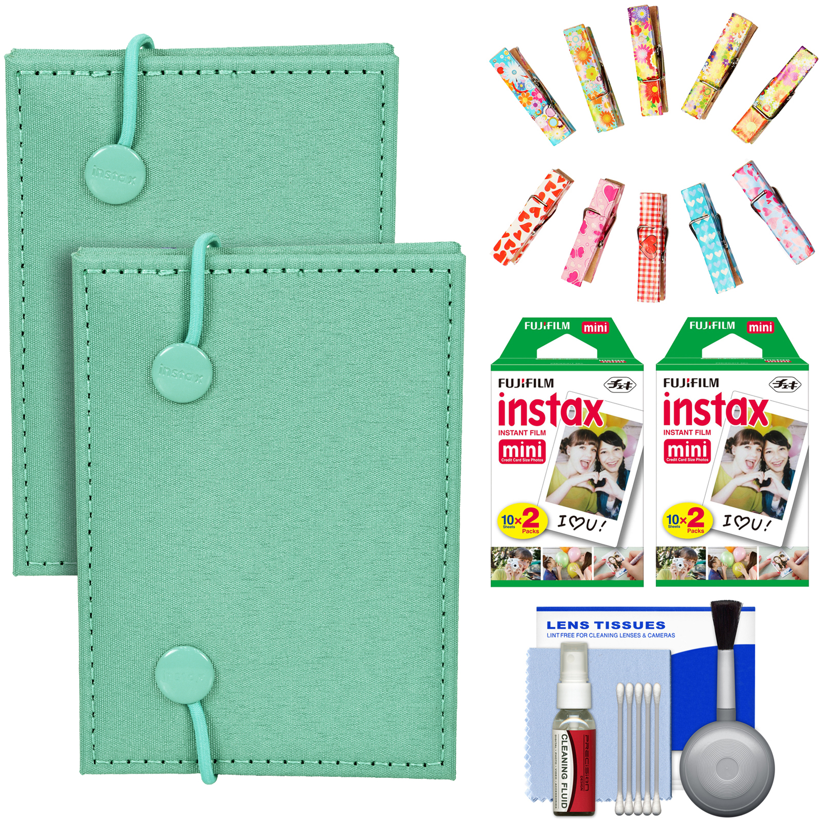 FujiFilm Instax Mini Accordion Photo Album (Green) (2 Pack) with 40 Twin Prints + Wood Peg Clips + Cleaning... by Fujifilm