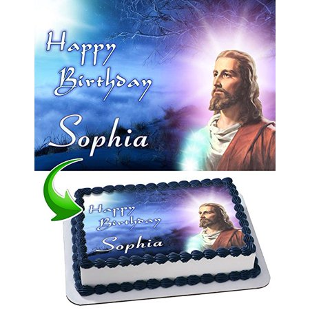 Jesus Christ Cake Image Personalized Topper Edible Image Cake Topper Personalized Birthday 1/4 Sheet Decoration Party Birthday Sugar Frosting Transfer Fondant Image Edible Image for cake](Easy Halloween Cakes Fondant)