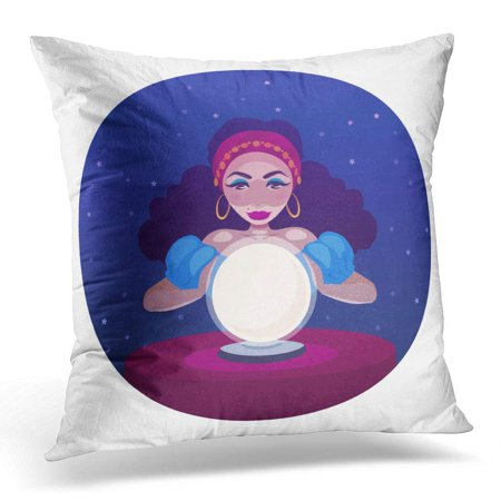 ECCOT Gypsy Fortune Teller with Crystal Ball and Table Cartoon of Woman Oracle Girl Witch Predicts Fate Pillowcase Pillow Cover Cushion Case 16x16 inch (Witch With Crystal Ball)