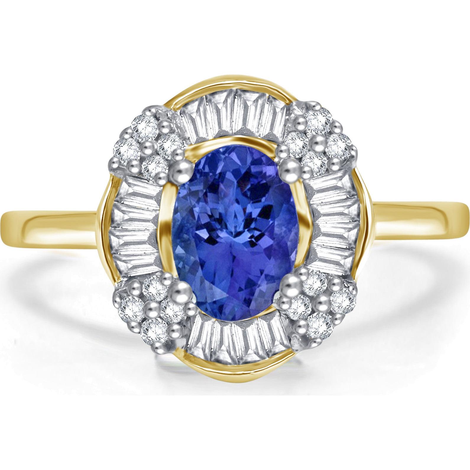 1 1 2 Carat T.W. Tanzanite and Diamond 14K Yellow Gold Ring by Generic