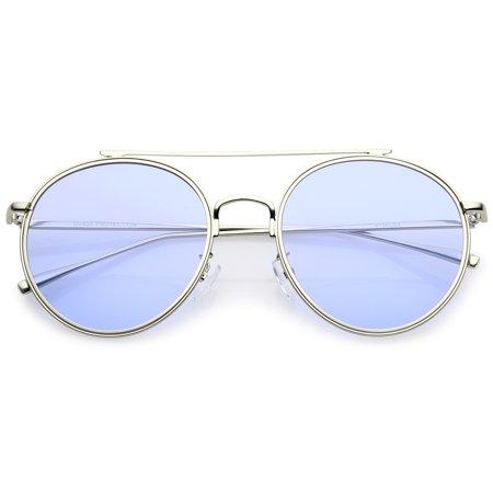 ec17435f0a2 sunglass.la - sunglassLA - Modern Metal Crossbar Slim Temple Colored Flat  Lens Round Aviator Sunglasses 54mm - 54mm - Walmart.com