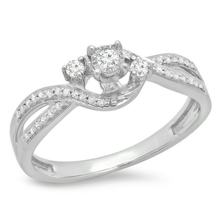 Dazzlingrock Collection 0.20 Carat (ctw) Sterling Silver Round Diamond Ladies 3 Stone Swirl Engagement Ring 1/5 CT, Size 10