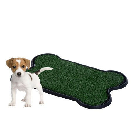 Pet potty patch dog training bathroom pad indoor or outdoor bone shaped 17 x27 x2 for Training dogs to go to the bathroom outside