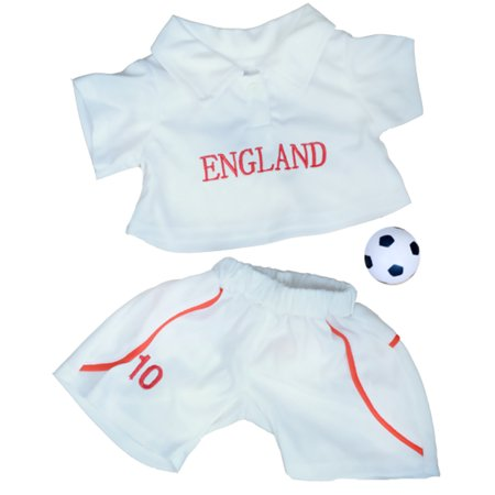 Decorate Your Own Soccer Ball (England Soccer Outfit with Ball Teddy Bear Clothes Fits Most 14
