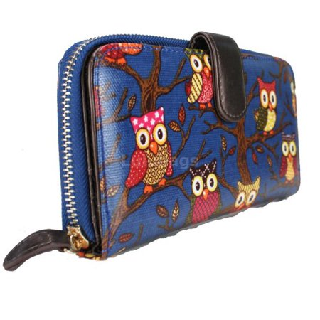 Miss Lulu Men's Designer Oilcloth Owl Spot Polka Dots 2 Folded Zip Wallet Purse Bag