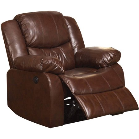 acme recliner with power motion brown bonded leather