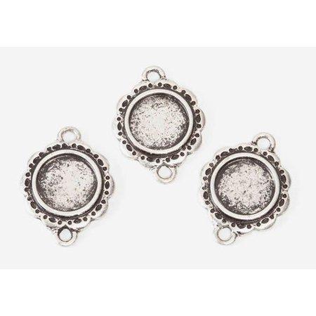 Bulk Buy: DIY Crafts Frame Charms Antique Silver Round 21mm (3-Pack ...