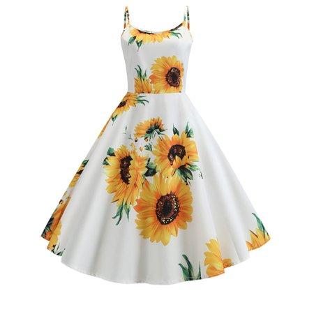 Women's Vintage Floral Strappy High Waist Swing Skater Midi Dress