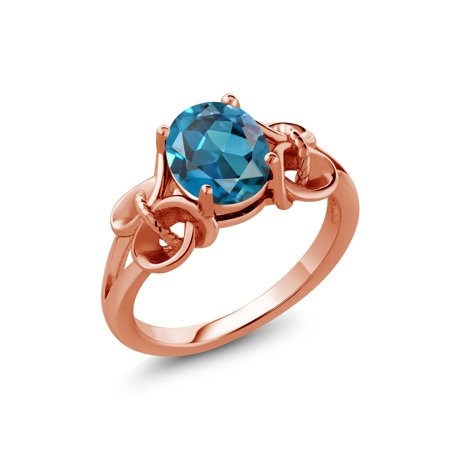1.80 Ct Oval London Blue Topaz 18K Rose Gold Plated Silver Ring ()