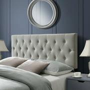 DG Casa Hancock Diamond Tufted Upholstered Adjustable Height Headboard, Queen Size in Beige Polyester Blend Fabric