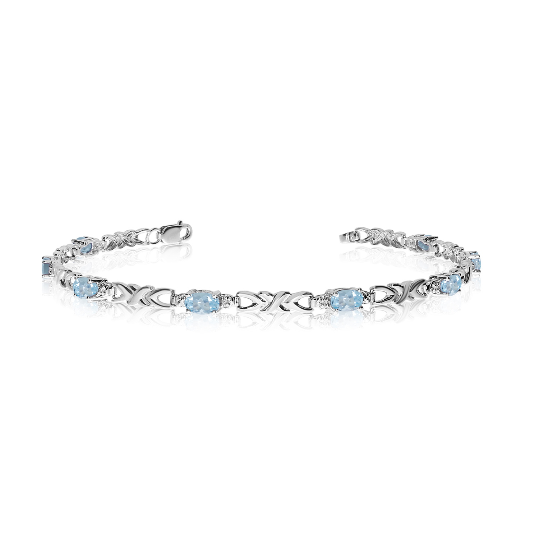 14K White Gold Oval Aquamarine and Diamond Bracelet by