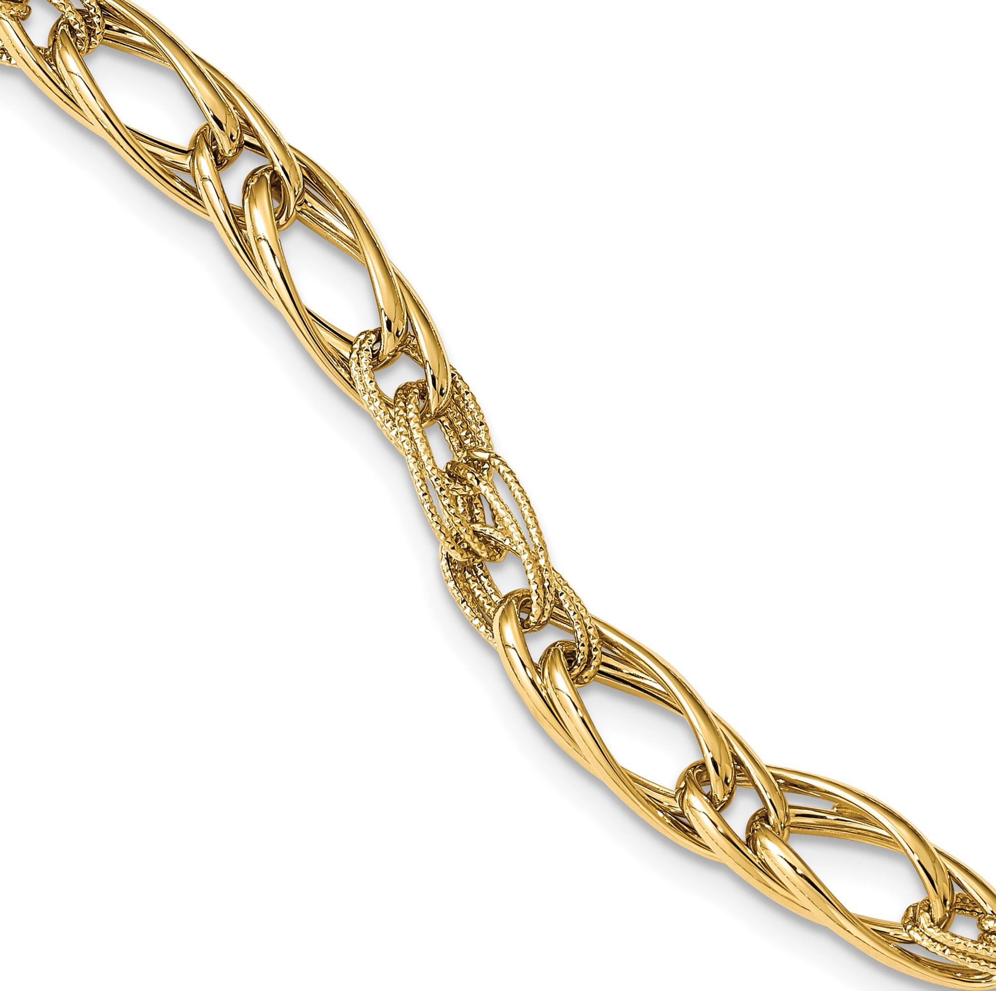 Leslie's 14K Polished & Textured w/.75 in ext Fancy Link Bracelet - image 3 of 3