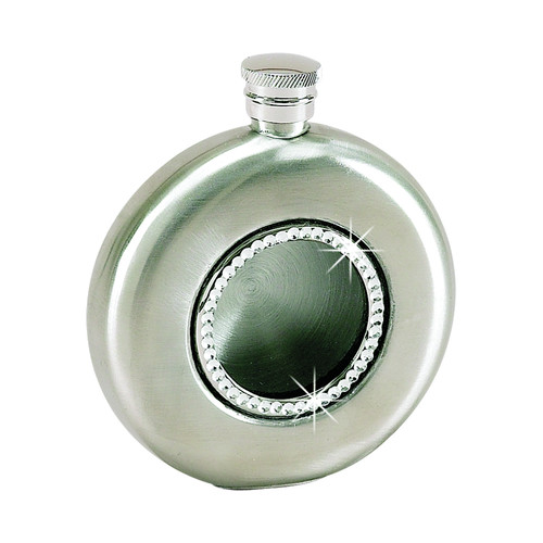 Creative Gifts International 4.5 Oz. Stainless Steel Round Flask with Crystals